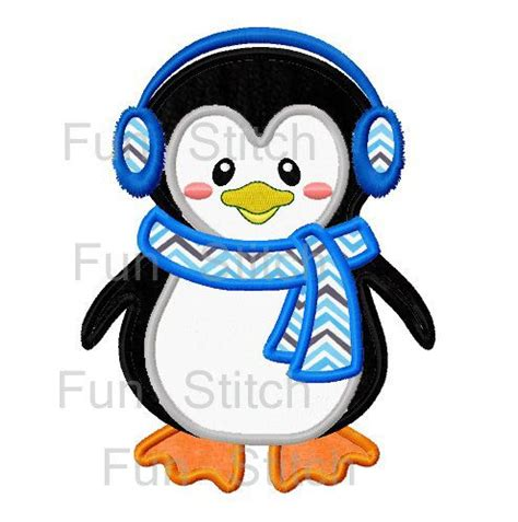 penguin applique penguin applique machine embroidery design embroidery
