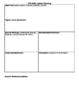pyp planner template ib pyp math lesson plan template by abbysolutely math tpt