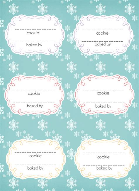 Christmas Cookie Labels Templates