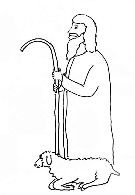 Bible Story Coloring Page For Jesus Our Shepherd Free Shepherd And Sheep Coloring Page