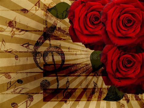 roses  piano background stock illustration