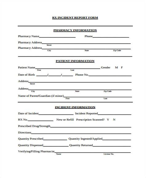 patient incident report form template sle incident report form