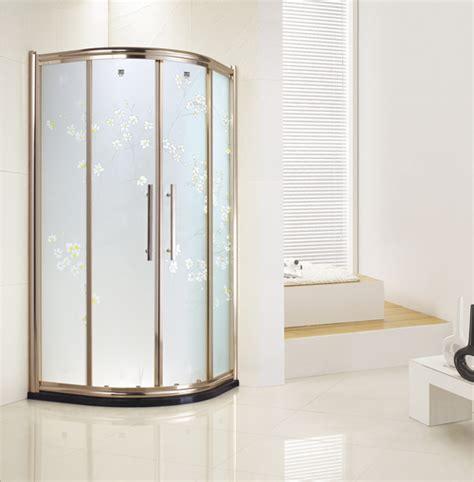 Gold Shower Doors Carved Glass Gold Frame Fan Shape Sliding Door Shower Enclosure In Foshan Guangdong