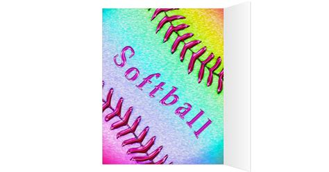 Personalised Name Birthday Cards Personalized Softball Birthday Card Name Number Card