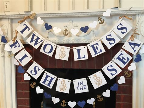 Nautical Wedding Banner by Two Less Fish In The Sea Banner Nautical Wedding Decor