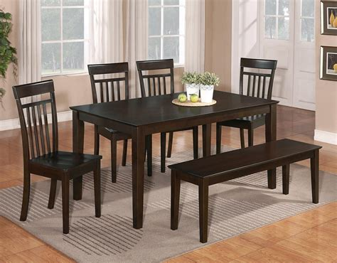 bench seat dining set 6 pc dinette kitchen dining room set table w 4 wood chair and 1 bench cappuccino ebay
