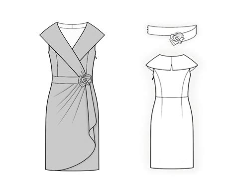 dress pattern with collar dress with shawl collar sewing pattern 4110 made to