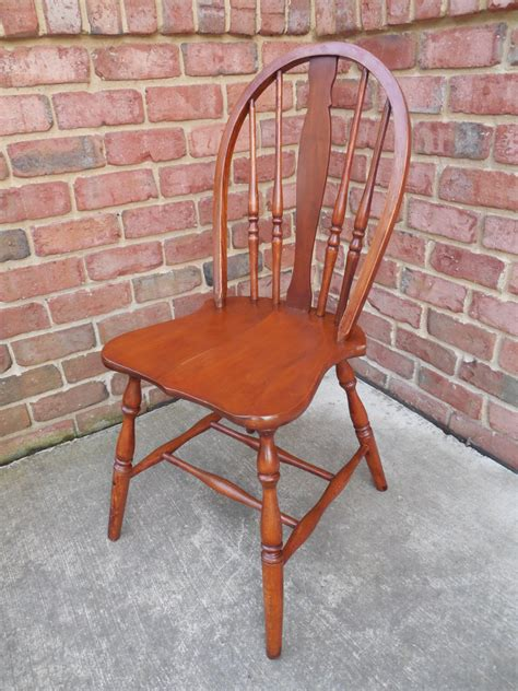 american bow back chair vintage bow back spindle back side chair with carved vase