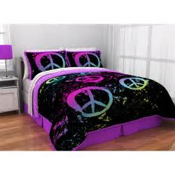 peace sign bedroom latitude peace paint reversible bed in a bag bedding set