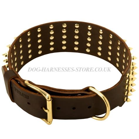 wide collars spiked leather collar for dogs wide 163 61 90