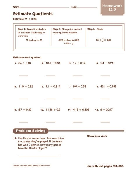 Estimating Quotients Using Compatible Numbers Worksheet by Subtraction 187 Subtraction Estimation Worksheets Free