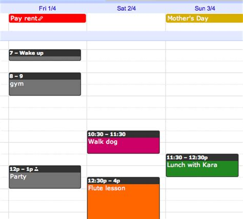 stay on top of events with color coding in google calendar