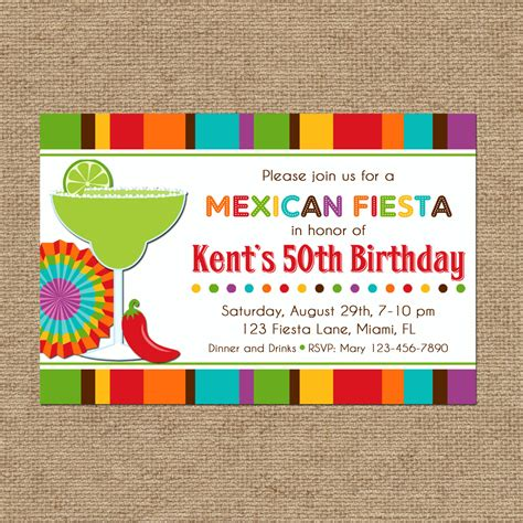 Mexican Fiesta Party Invitation Printable Or Printed With Free Mexican Invitation Template