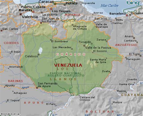 imagenes de guarico venezuela mapa de gu 225 rico en venezuela