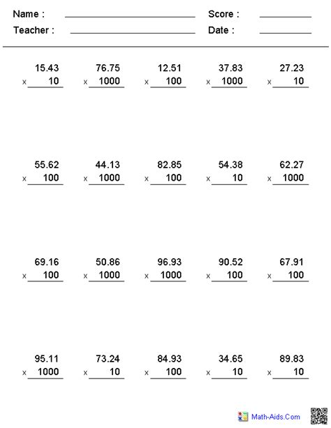 Multiplying Decimals Worksheets by Multiplying Decimals By Powers Of Ten Worksheet Images