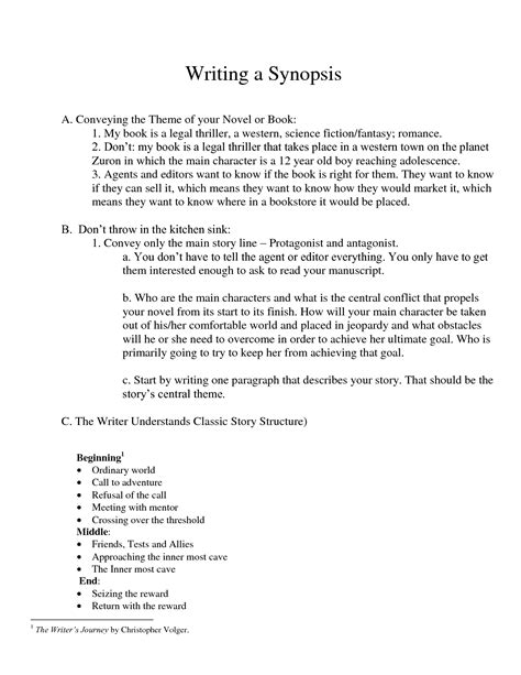 format of novel synopsis best photos of novel synopsis for agent query letter