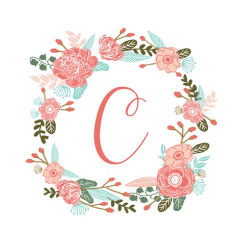 c monogram girls sweet florals flowers flower wreath girls