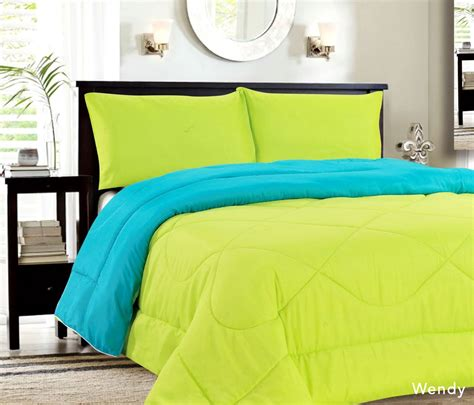 lime green twin comforter down alternative reversible comforter turquoise lime