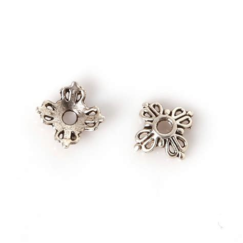jewelry components 20pcs lot tibetan style alloy silver flower metal bead