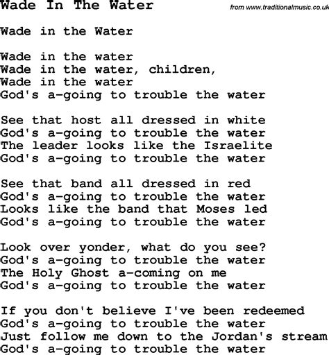printable lyrics something in the water negro spiritual slave song lyrics for wade in the water