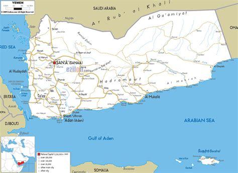yemen map detailed clear large road map of yemen ezilon maps