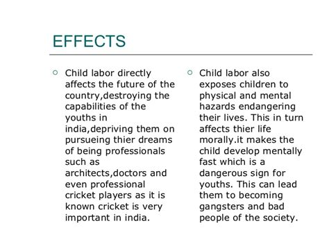 Child Labor Essay Causes And Effects by Research Paper On Child Labor In In
