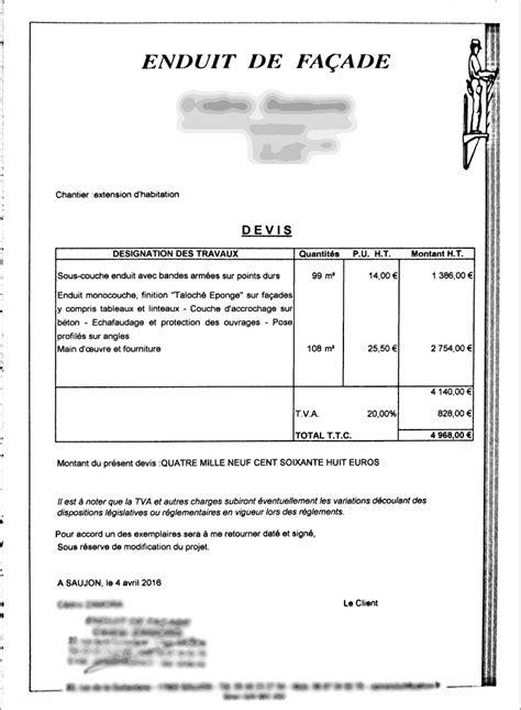 Exemple Devis Construction Maison 3767 by Exemple De Devis Pour Un Enduit De Fa 231 Ade