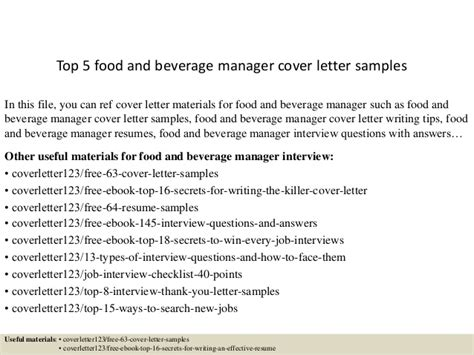 Beverage Supervisor Cover Letter by Top 5 Food And Beverage Manager Cover Letter Sles