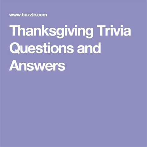 thanksgiving trivia questions and answers thanksgiving