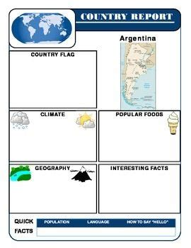 layout of a geography report country report template set social studies geography
