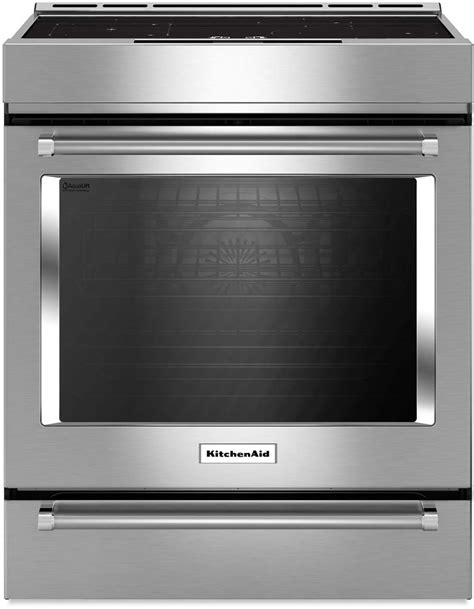 kitchenaid stainless steel 30 inch induction slide in range w convection ksib900ess trail