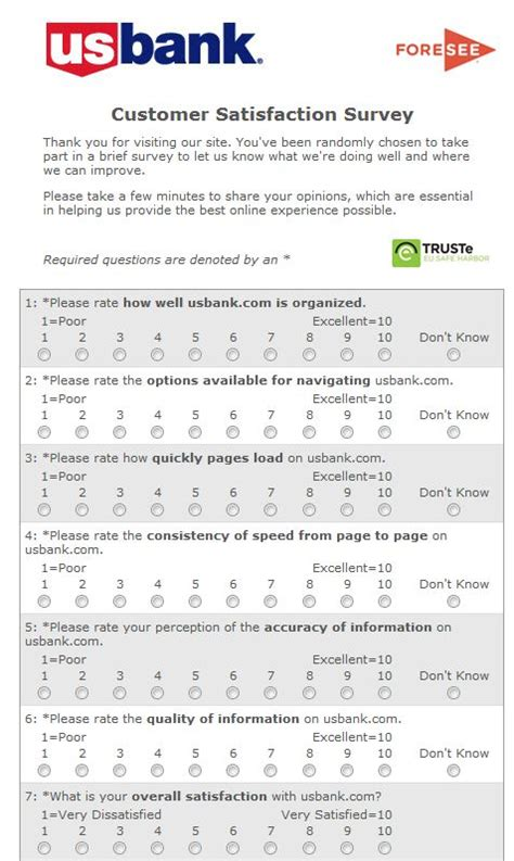 Website Survey Questionnaire - website usability survey questions from us bank