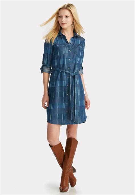 Blue Belted Dress S L 13405 belted plaid chambray shirt dress plus dresses cato fashions