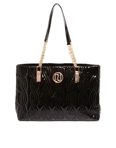 Patent Handheld Shopper From Asos by River Island River Island Black Patent Quilted Shopper