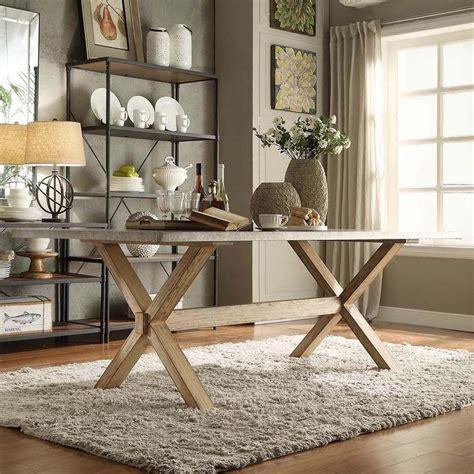 weathered oak kitchen table inspire q aberdeen industrial zinc top weathered
