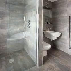 grey bathroom with walk in shower decorating