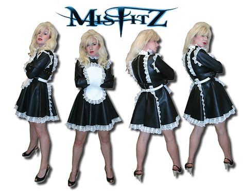 leather maids dress leather look strait jacket buckle restraint maid
