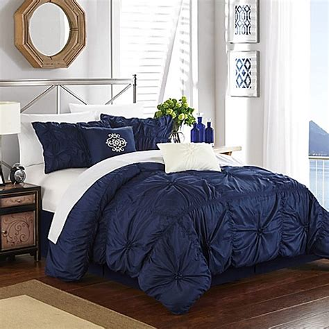 buy chic home hilton 6 piece king comforter set in navy