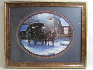 Home Interiors Horse Pictures Sambataro Framed Picture Print Horses Carriage Winter