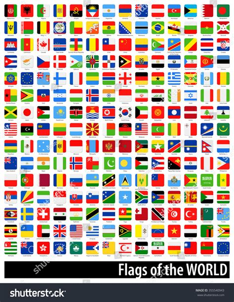 flags of the world ultimate square flags world full ultimate collection vector stock