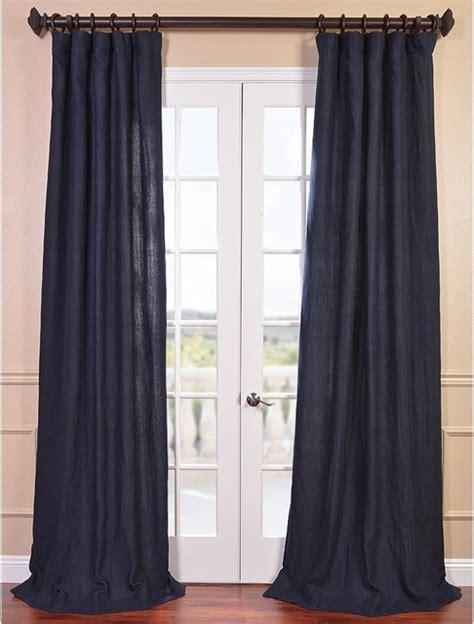 Blue Linen Curtains Denim Blue Linen Curtain Panel Contemporary Curtains By Overstock