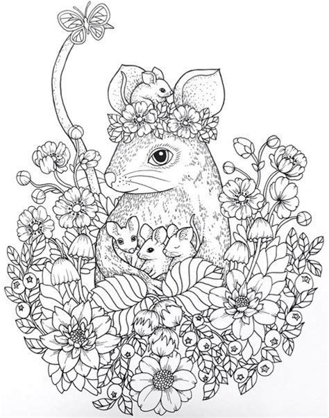 mouse family coloring page t t mouse family in flower circlr colouring drawing