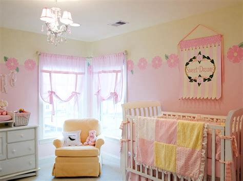 Pastel Pink And Yellow Color Ideas For Girls Nursery Room Yellow And White Curtains For Nursery