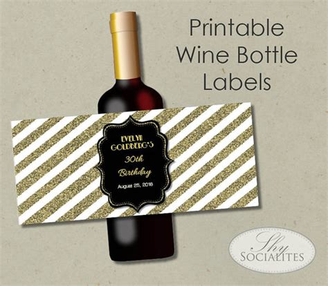 printable wine label templates black gold glitter printable wine label hostess gift