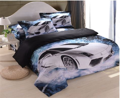 bed sets for guys white car blue black cool men s boys 3d bedding sets duvet cover bedspreads linens bed jpg