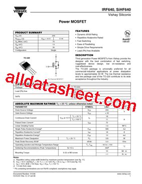 transistor fet irf640 irf640 datasheet pdf vishay siliconix