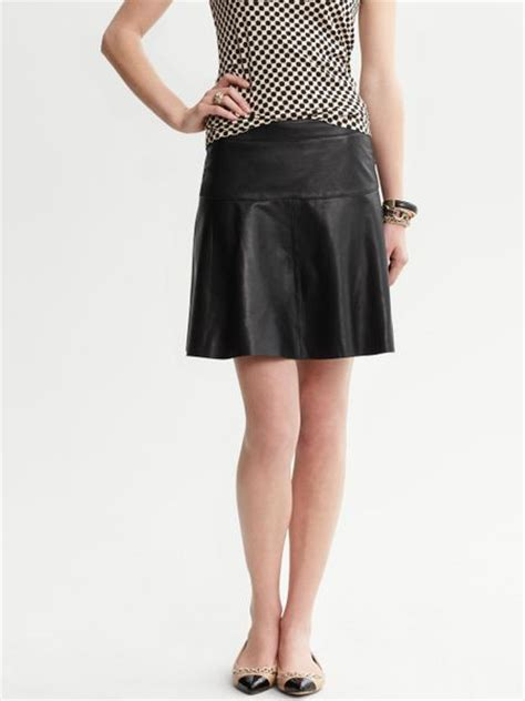 banana republic leather fit and flare skirt black in black