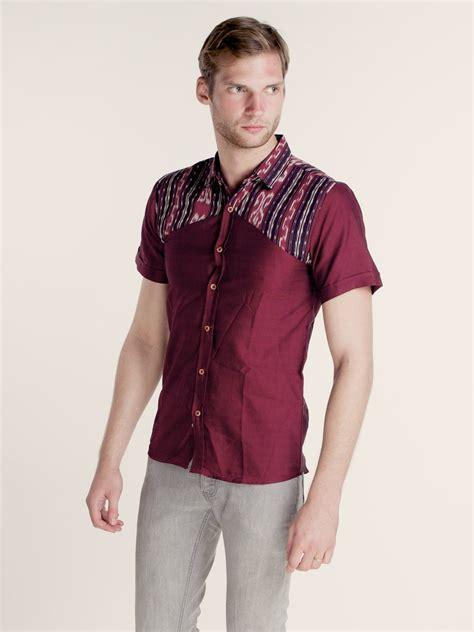 Batik Tenun Maroon maumere tenun combination shirt maroon