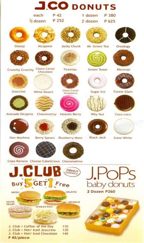 Menu Jco Coffee j co donuts coffee menu menu for j co donuts coffee