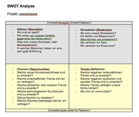 Word Vorlage Swot Analyse Swot Analyse Vorlage Muster Und Vorlagen Kostenlos